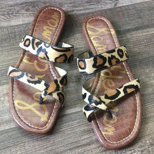 Bernice Leopard Calf Hair Sandals